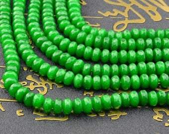15.5inch Green Jade Faceted Rondelles Beads 5mm x 8mm 6mm x 4mm