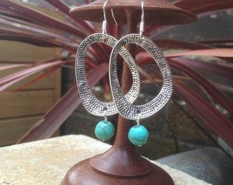 Turquoise Hoop Silver Dangle Earrings, Bohemian, Ethnic, Turquoise Jewellery, Boho, Hypoallergenic