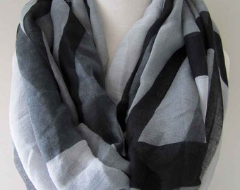 Black and Gray Infinity Scarf with modern art pattern - Long and light weight for spring, summer, and fall