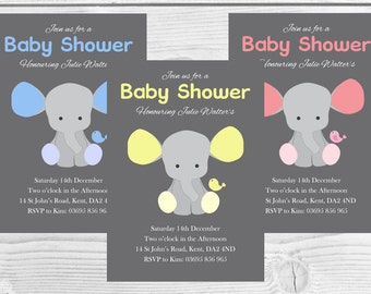 Printable Baby Shower Invitation, Elephant, Baby Girl, Baby Boy, Neutral Baby Shower DIY DIGITAL DOWNLOAD