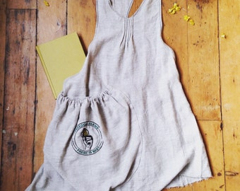 Embroidered Linen apron in pebble freedom farms/your company logo