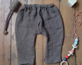 Split Crotch Linen Harem Pants for Elimination Communication  baby toddler boy ec diaper free