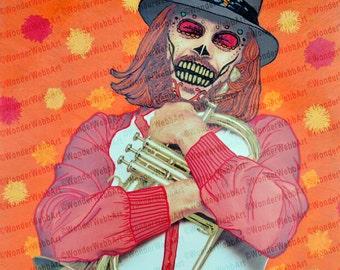 5x5 Siente Tan Bien (Feels So Good) Sugar Skull Day of the Dead Dia De Los Muertos Art Print