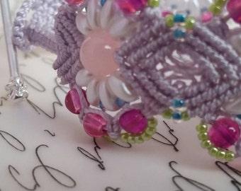 Bracelet, micromacrame bracelet, beaded bracelet, pastel spring bracelet, women's  bracelet