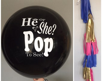 Black Gender Reveal Balloon with Bright Tassels