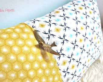 Organic swallows - mustard and teal Cushion cover