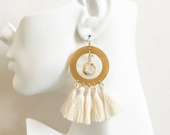 Tassel Earrings- Tassel Hoop Earrings- White Tassel Earrings- Large Hoop Earrings - Hoop Fringe Earrings