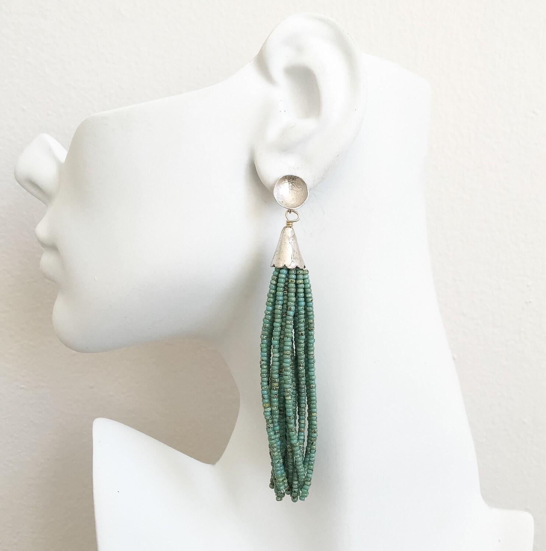 turquoise beaded tassel earrings silver beaded tassel