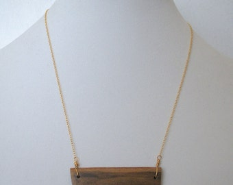 West texas petrified wood bar necklace on 14k gold filled or sterling silver plated chain
