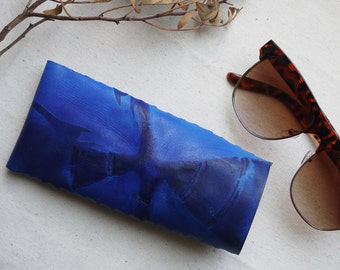 Leather glasses case, hand dyed.   Blue glasses case, leather glasses case.  Handmade in England.
