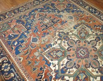 Antique Persian Heriz Rug Size 8'9''x11'8''