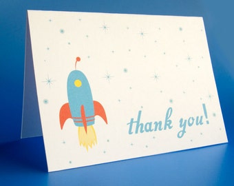 Thank you card Rocket Thank You Card -Space Theme Printable- Instant Download