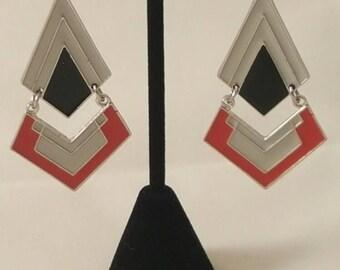Black, White & Red Dimensional Earrings - Women's Earrings - Chandelier Earrings - Women's Chandelier Earrings - White-Red -Black Earrings
