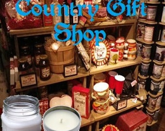 Country Gift Shop - Soy Candle, 8 oz Soy Wax Mason Jar Candle, Handmade, Hand Poured