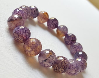 FREE SHIPPING, 12 mm Faceted Purple vien Agate Bracelet, Healing, Love, Peace