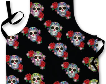 Candy Skull Black Design Apron Kitchen bbq Cooking Painting Made In Yorkshire