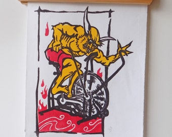Oni Battles the Airdyne, 3 color wood block print