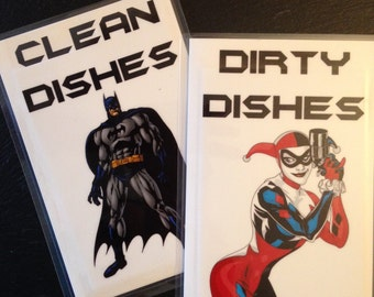DC Comic Book Batman/Harley Quinn Reversible Magnetic Dishwasher Sign | Geek Kitchen | Batman Clean Dirty Dishwasher Magnet