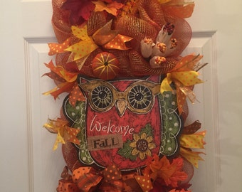 Welcome Fall swag with decomesh, ribbons, & accessories