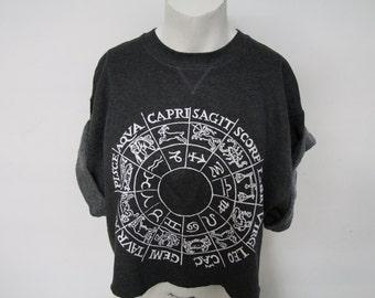 Recycled Zodiac/ Horoscope Crop Top