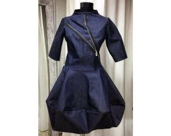 Casual Dress, Denim Dress, Boho Mini Dress, Short Dress, Petite Dress, Designer Dress, Zipper Dress, Pleated Dress, Everyday Chic Dress