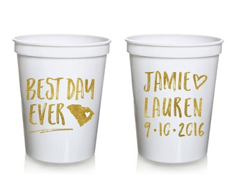 Best Day Ever Wedding Stadium Cups, Personalized Wedding Cups, Rehersal Dinner, Stadium Cup, Wedding Favor