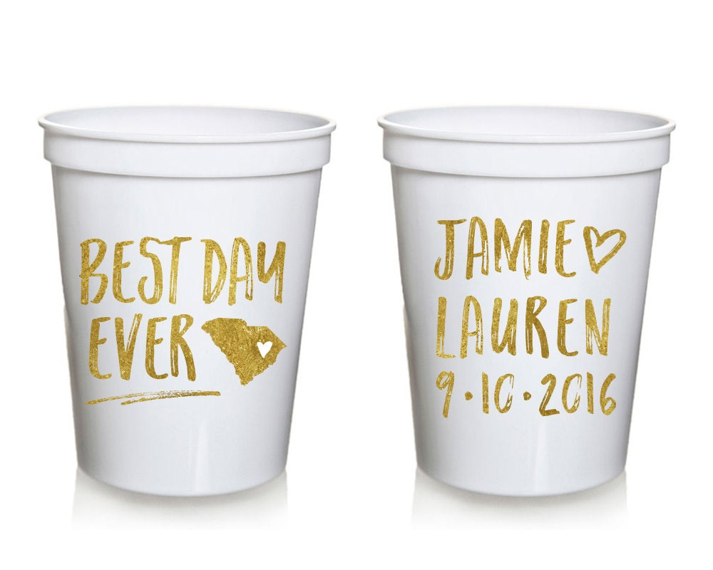 best day ever wedding stadium cups personalized wedding cups On custom cups for wedding
