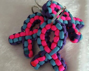 3-Color Paracord Ribbon Keychain