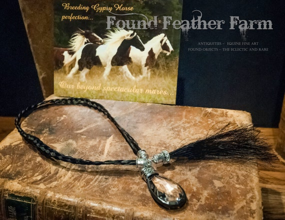 Gypsy Horsehair Flat Braided Bookmark with Swarovski Jewels, Horsehair Tassel and Soldered Crystal