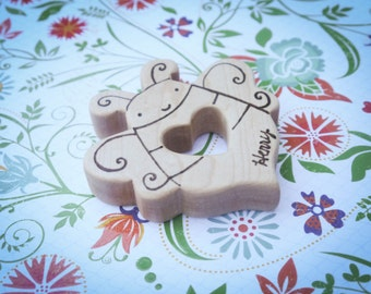 Wooden Bumblebee Teether, Personalized Bee Baby Teething Toy, Summer toy for babies