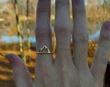 Mountain Ring; gold or silver mountain ring; mountains are calling; mountain jewelry; mountain range ring; Silver and brass mountain ring
