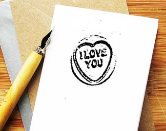 Love Hearts Candy Card, A7 blank greeting card, Black and White.