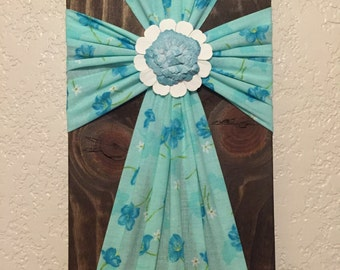 "Handmade Turquoise and Blue Flower Pattern Fabric Wood Cross Wall Decor 7"" x 13"" Decorative Cross Home Decor"