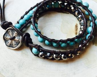 Double turquoise bracelet