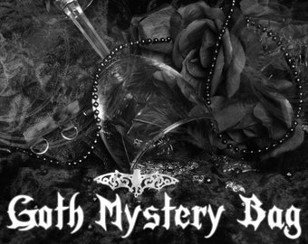 Goth Mystery Bag !!! Surprise Gothic Jewelry Grab Bag (Chokers, Wrist Cuffs, Baubles)