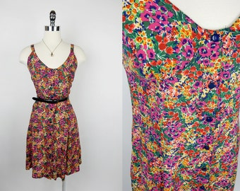 90s Vintage Express Floral Button Up A-Line Dress S/M