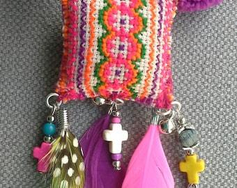 Necklace/pendant textile multicolor, Bohemian spirit