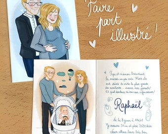 Illustrated custom invitations - portrait - Birth, pregnancy, babyshower, wedding