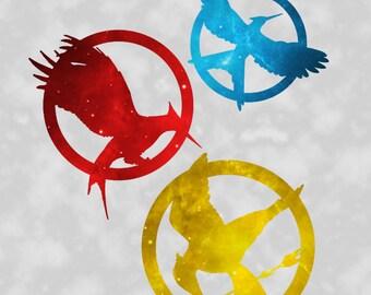 "Hunger Games - Catching Fire - Mockingjay - Galaxy Art - Wall Art Print - 8x10"" 11x14"" 16x20"""