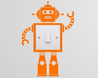 Robot Light Switch Decal Vinyl Wall Stickers