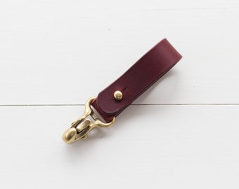 Leather Japanese Brass Hook Keychain - Burgundy