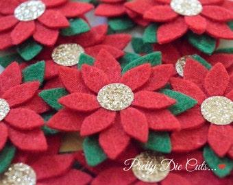 Felt Poinsettias, Christmas Flowers, Felt Flower Pack, Red and Green Decorative Flowers, Felt Shapes, Die Cut Floral Craft Embellishments