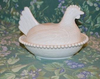 White Milk Glass Chicken On Nest Milk ~ Indiana Glass Company