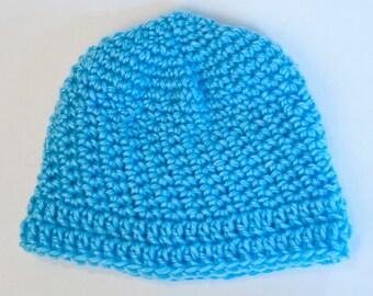 Handmade blue baby hat (6-12 months)