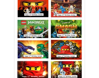 8 PERSONALIZED Printed Ninjago inspired Stickers, Birthday Party Favors, rewards, crafts, labels, Custom Made