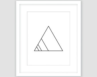 Triangle Print, Black and White, Modern Geometric Print, Instant Download, DIY, Printable