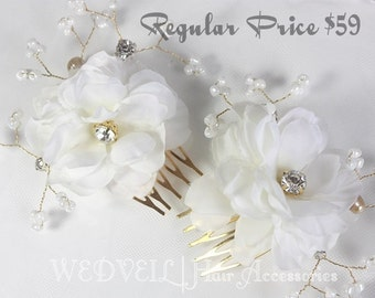 Flower Hair Comb for Wedding, with Crystals & Beads