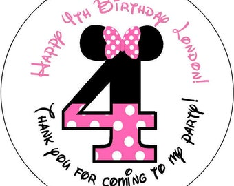 12 number Baby Minnie mouse Theme Birthday Party Stickers 2.5 inch Round Personalized kids 4 4th