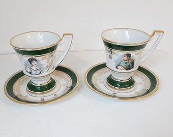 set of 2 vintage french porcelain cups and saucers