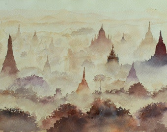 Landscape Watercolor Original painting on Arches Paper (Title: Pagoda field at Bagan)